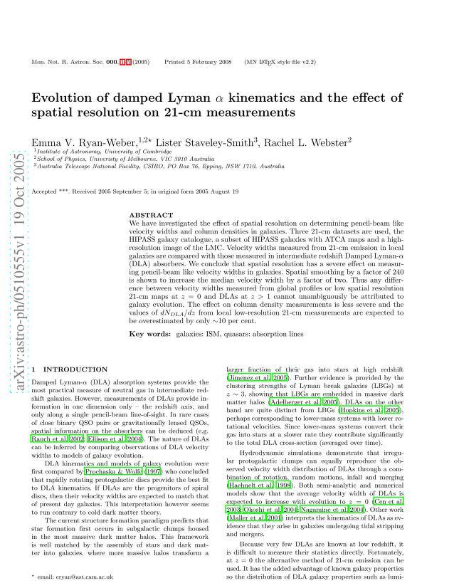 Emma V. Ryan-Weber - Evolution of damped Lyman alpha kinematics and the effect of spatial resolution on 21-cm measurements