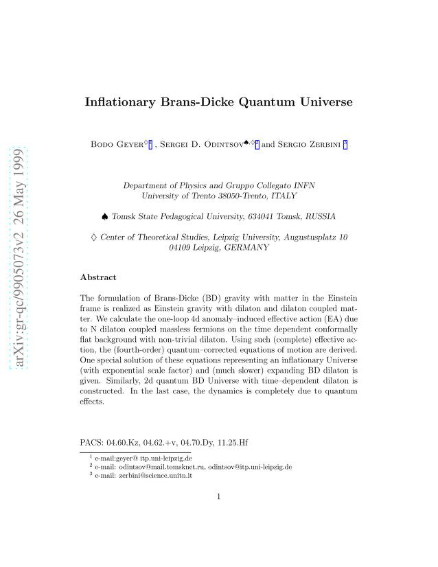 Bodo Geyer - Inflationary Brans-Dicke Quantum Universe