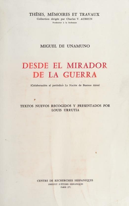Desde el mirador de la guerra by Miguel de Unamuno