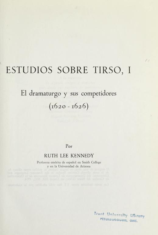 Estudios sobre Tirso by Ruth Lee Kennedy