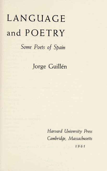 Language and poetry by Jorge Guillén